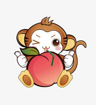 a monkey holding a peach